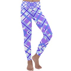 Geometric Plaid Purple Blue Kids  Lightweight Velour Classic Yoga Leggings