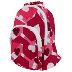Pink Hearts Pattern Love Shape Rounded Multi Pocket Backpack