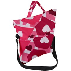 Pink Hearts Pattern Love Shape Fold Over Handle Tote Bag