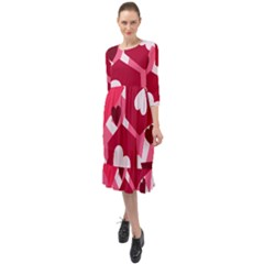Pink Hearts Pattern Love Shape Ruffle End Midi Chiffon Dress