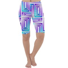 Geometric Metallic Aqua Purple Cropped Leggings  by HermanTelo