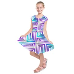 Geometric Metallic Aqua Purple Kids  Short Sleeve Dress by HermanTelo