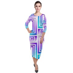 Geometric Metallic Aqua Purple Quarter Sleeve Midi Velour Bodycon Dress by HermanTelo