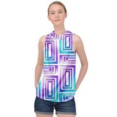 Geometric Metallic Aqua Purple High Neck Satin Top by HermanTelo
