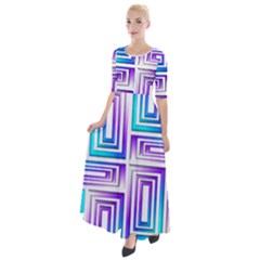 Geometric Metallic Aqua Purple Half Sleeves Maxi Dress by HermanTelo