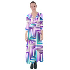Geometric Metallic Aqua Purple Button Up Maxi Dress