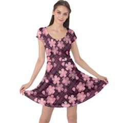 Cherry Blossoms Japanese Cap Sleeve Dress