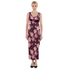 Cherry Blossoms Japanese Fitted Maxi Dress