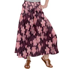 Cherry Blossoms Japanese Satin Palazzo Pants by HermanTelo