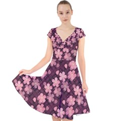 Cherry Blossoms Japanese Cap Sleeve Front Wrap Midi Dress