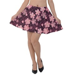Cherry Blossoms Japanese Velvet Skater Skirt