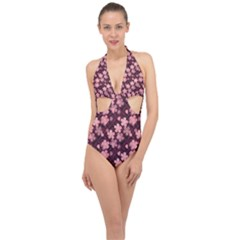 Cherry Blossoms Japanese Halter Front Plunge Swimsuit