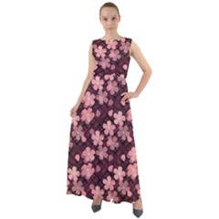 Cherry Blossoms Japanese Chiffon Mesh Maxi Dress