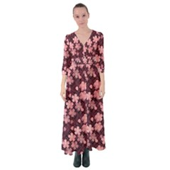 Cherry Blossoms Japanese Button Up Maxi Dress