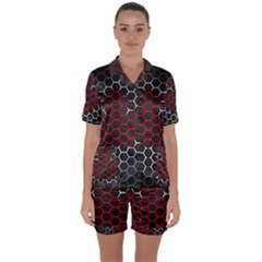 Canada Flag Hexagon Satin Short Sleeve Pyjamas Set by HermanTelo