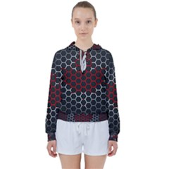 Canada Flag Hexagon Women s Tie Up Sweat by HermanTelo