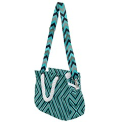 Fabric Sage Grey Rope Handles Shoulder Strap Bag