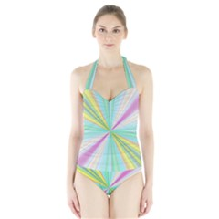 Background Burst Abstract Color Halter Swimsuit by HermanTelo