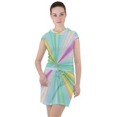Background Burst Abstract Color Drawstring Hooded Dress