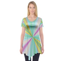 Background Burst Abstract Color Short Sleeve Tunic  by HermanTelo