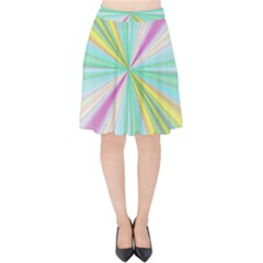 Background Burst Abstract Color Velvet High Waist Skirt