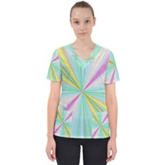 Background Burst Abstract Color Women s V Neck Scrub Top by HermanTelo