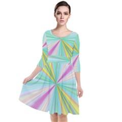 Background Burst Abstract Color Quarter Sleeve Waist Band Dress