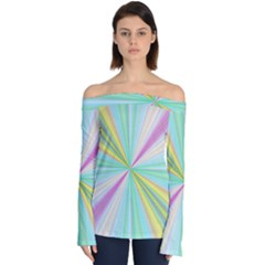 Background Burst Abstract Color Off Shoulder Long Sleeve Top by HermanTelo
