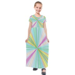 Background Burst Abstract Color Kids  Short Sleeve Maxi Dress by HermanTelo