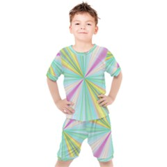 Background Burst Abstract Color Kids  Tee And Shorts Set