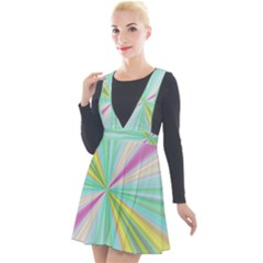 Background Burst Abstract Color Plunge Pinafore Velour Dress