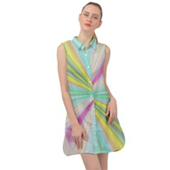 Background Burst Abstract Color Sleeveless Shirt Dress by HermanTelo