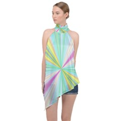 Background Burst Abstract Color Halter Asymmetric Satin Top by HermanTelo