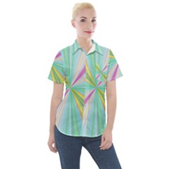 Background Burst Abstract Color Women s Short Sleeve Pocket Shirt