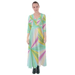 Background Burst Abstract Color Button Up Maxi Dress