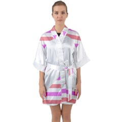 Love Heart Valentine S Day Quarter Sleeve Kimono Robe by HermanTelo