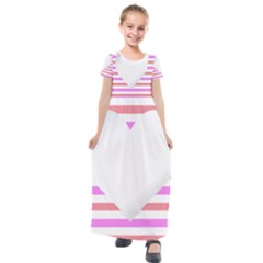 Love Heart Valentine S Day Kids  Short Sleeve Maxi Dress by HermanTelo