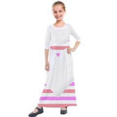 Love Heart Valentine S Day Kids  Quarter Sleeve Maxi Dress by HermanTelo