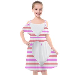 Love Heart Valentine S Day Kids  Cut Out Shoulders Chiffon Dress by HermanTelo