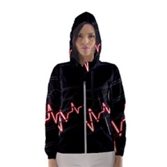 Music Wallpaper Heartbeat Melody Women s Hooded Windbreaker by HermanTelo