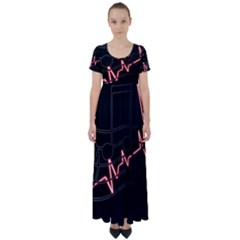 Music Wallpaper Heartbeat Melody High Waist Short Sleeve Maxi Dress by HermanTelo