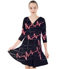 Music Wallpaper Heartbeat Melody Quarter Sleeve Front Wrap Dress by HermanTelo