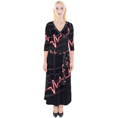 Music Wallpaper Heartbeat Melody Quarter Sleeve Wrap Maxi Dress by HermanTelo