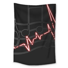 Music Wallpaper Heartbeat Melody Large Tapestry