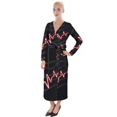 Music Wallpaper Heartbeat Melody Velvet Maxi Wrap Dress by HermanTelo