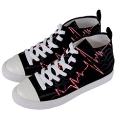 Music Wallpaper Heartbeat Melody Women s Mid-top Canvas Sneakers by HermanTelo