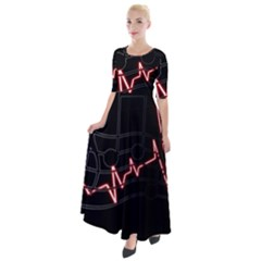 Music Wallpaper Heartbeat Melody Half Sleeves Maxi Dress by HermanTelo