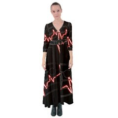 Music Wallpaper Heartbeat Melody Button Up Maxi Dress by HermanTelo
