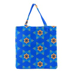 Pattern Backgrounds Blue Star Grocery Tote Bag by HermanTelo