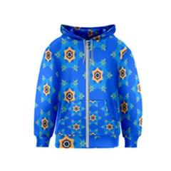 Pattern Backgrounds Blue Star Kids  Zipper Hoodie